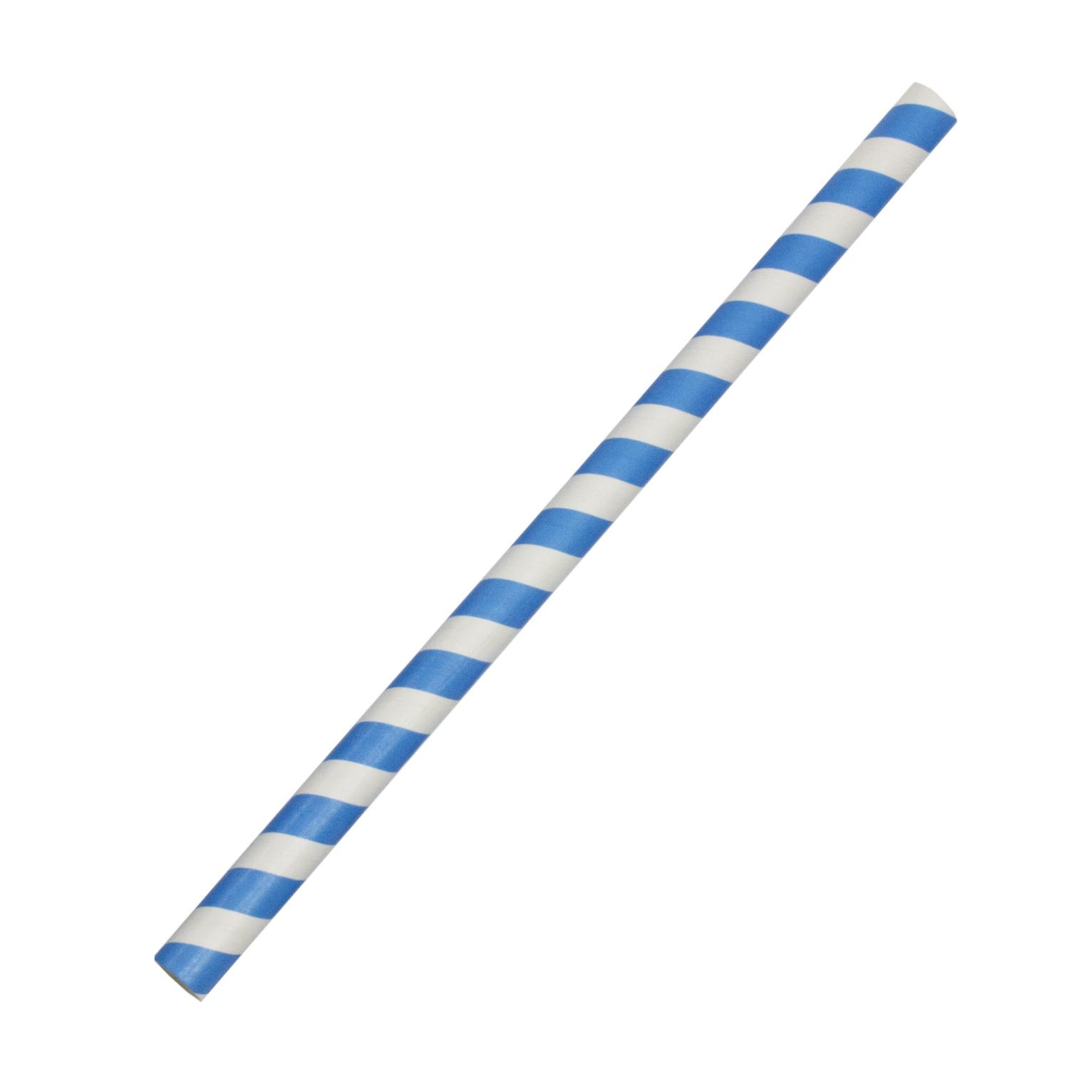 image of 8 in. Paper Straws Blue/White Striped