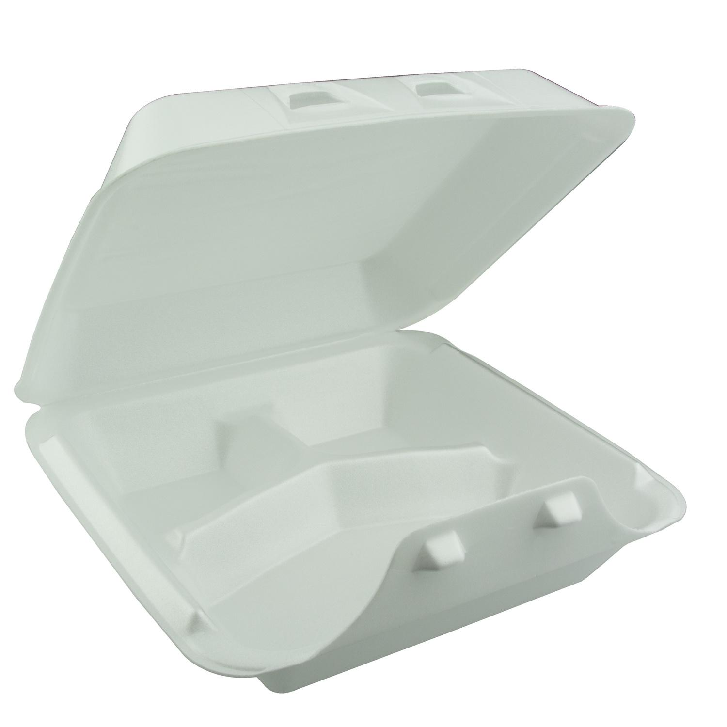 image of Container Foam Hinged 3 Compartment Double-Tab